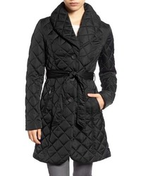 Tahari Casey Quilted Shawl Collar Coat