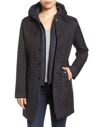Larry Levine Two Tone Hooded Bib Quilted Coat