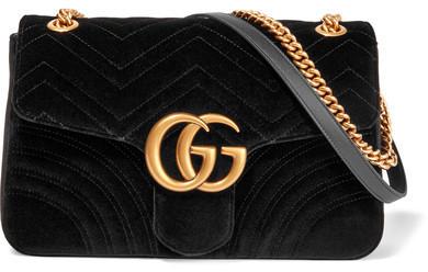 098b11031 Gucci Gg Marmont Medium Quilted Velvet Shoulder Bag Black, £1,405 ...