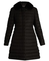 Moncler Gamme Rouge Detachable Fur Collar Quilted Cashmere Blend Coat