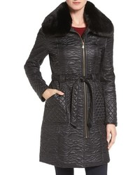 Via Spiga Paisley Quilted Coat With Faux Fur Collar