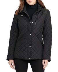 Faux leather trim quilted jacket medium 1162236