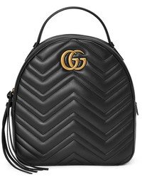 Black leather gg marmont backpack medium 4985218