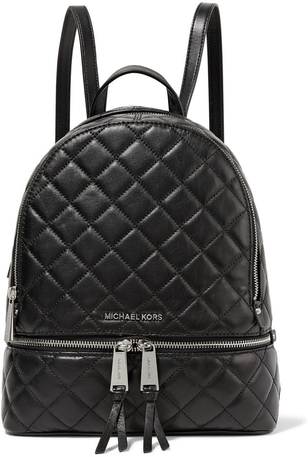 f16a326e1c50 ... Backpacks MICHAEL Michael Kors Michl Michl Kors Rhea Medium Quilted Leather  Backpack Black