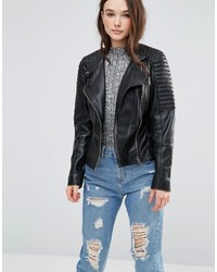 Barneys Originals Leather Biker Jacket With Quilting And Buckle Detail