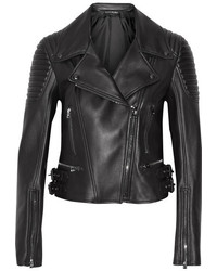 Leather biker jacket black medium 1210755