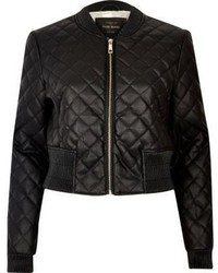 Black Quilted Leather Bomber Jacket