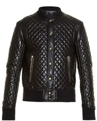 Balmain Diamond Quilted Leather Bomber Jacket