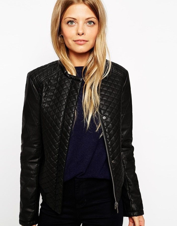 Asos Collection Bomber Jacket In Quilted Leather Look | Where to ... : asos quilted leather jacket - Adamdwight.com