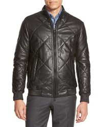 Quilted lambskin leather trim fit jacket medium 350332