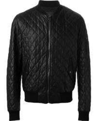 Quilted leather bomber jacket medium 350324