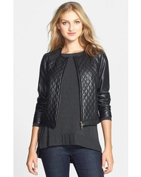 Eileen Fisher The Fisher Project Quilt Front Short Leather Jacket