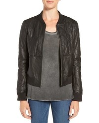 Zoey quilted leather bomber jacket medium 751081