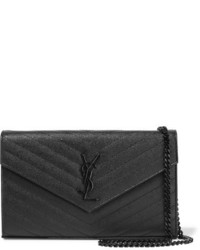 Saint Laurent Monogramme Mini Quilted Textured Leather Shoulder Bag Black