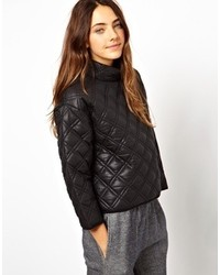 Collection quilted sweatshirt with padded high neck medium 118786