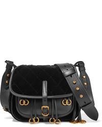 Messenger leather and quilted velvet shoulder bag black medium 828960
