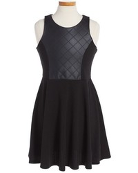 Soprano Quilted Faux Leather Skater Dress
