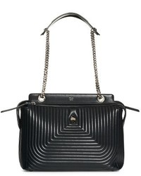 Fendi Dotcom Quilted Lambskin Leather Shoulder Bag Black
