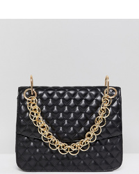 My Accessories London Black Statet Bag With Gold Link Chain Handle
