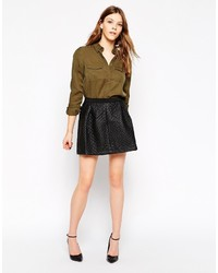 Yas Pu Quilted Skater Skirt
