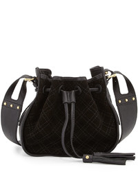 Black Quilted Suede Crossbody Bag