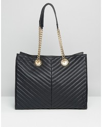 Asos Quilted Chevron Tote Bag With Chain Handle