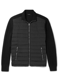 Tom Ford Quilted Shell Panelled Ribbed Wool Zip Up Cardigan