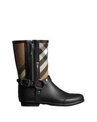 Burberry And Strap Detail Check Rain Boots