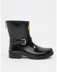 Barbour International Low Shiny Biker Wellington Boots With And Zip Detail