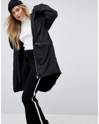 Asos Midi Rain Jacket With Faux Fur Liner