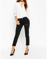 Asos Collection Kimmi Shrunken Boyfriend Jeans In Washed Black With Thigh Rip