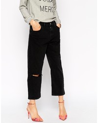 Asos Collection Maddox Parallel Jeans In Washed Black With Ripped Knee