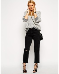 Asos Collection Thea Girlfriend Jeans In Washed Black With Ripped Knees