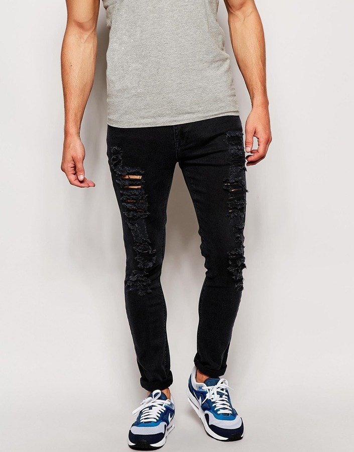 Asos Asos Brand Asos Super Skinny Jeans With Extreme Rips Where To