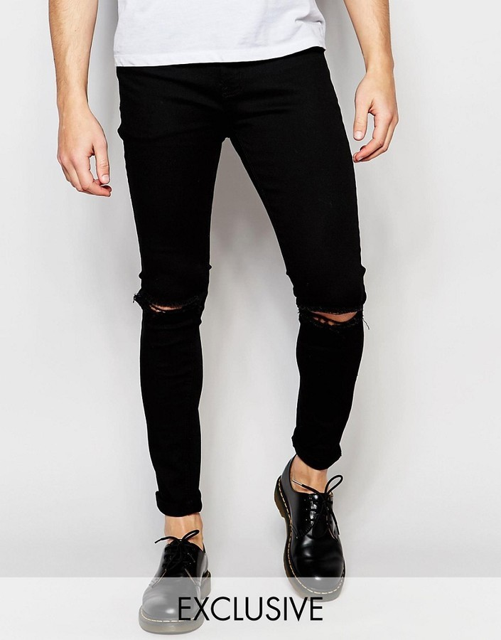bcc120274a3 ... Liquor N Poker Liquor Poker Skinny Rip Knee Jeans In Clean Black ...