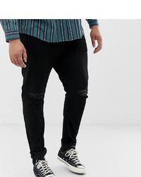 ASOS DESIGN Plus Skinny Jeans In Black With Knee Rips