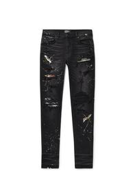 Amiri Skinny Fit Appliqud Paint Splattered Distressed Stretch Denim Jeans