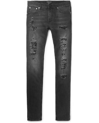 Alexander McQueen Slim Fit Distressed Washed Stretch Denim Jeans