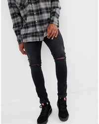 ASOS DESIGN 125oz Super Skinny Jeans In Black With Knee Rips