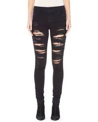 Alice + Olivia Jane Embellished Distressed Skinny Jeans