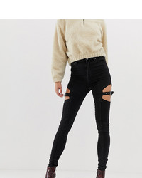Asos Tall Asos Design Tall Ridley High Waist Skinny Jeans In Clean Black With Cut Out Detail