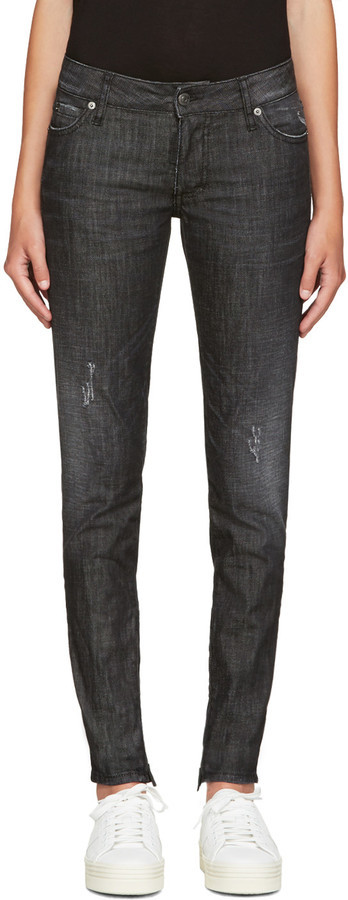 Dsquared2 Black Distressed Skinny Jeans