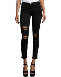 Current/Elliott The Stiletto Distressed Skinny Jeans Black