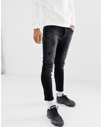 Chasin' Iggy Holly Rip And Repair Skinny Jeans In Black