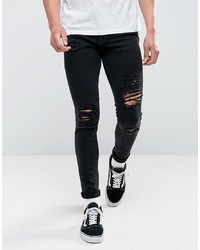 Jack & Jones Intelligence Jeans In Skinny Fit Ripped Black Denim 502
