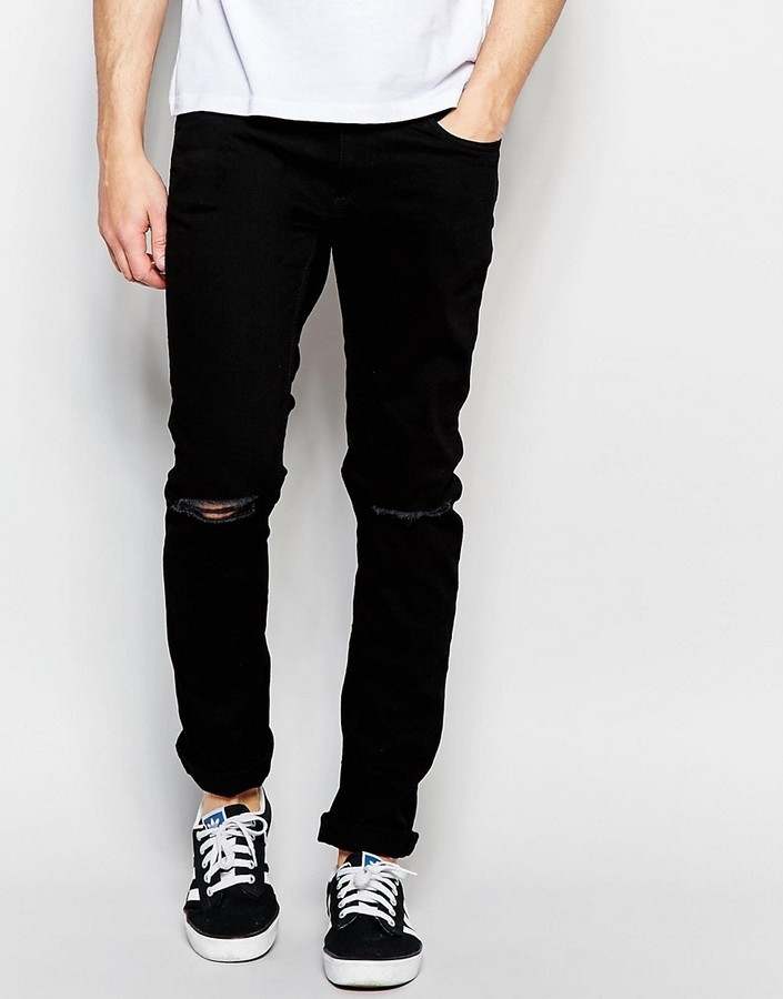 Jack and Jones Jack Jones Skinny Fit Jeans With Ripped Knees And ...