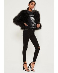 Missguided Black Highwaisted Ripped Piercing Stepped Hem Skinny Jeans