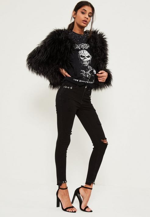 Missguided Black Highwaisted Ripped Piercing Stepped Hem Skinny Jeans