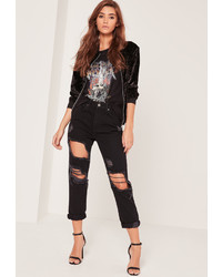 Missguided High Waisted Ripped Cropped Skinny Jeans Black