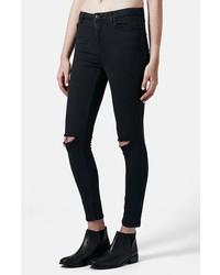 Topshop Moto Jamie Dark Wash Ripped Slim Jeans